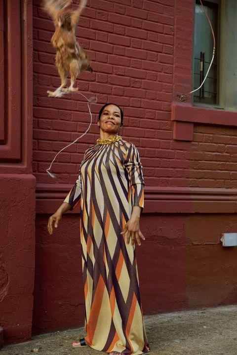 woman on sidewalk