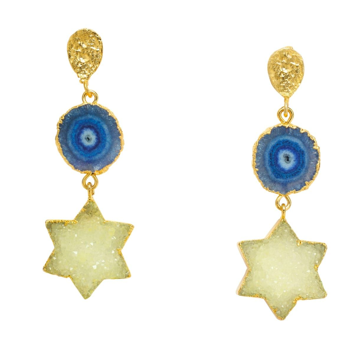 Night Sky Gold Gemstone Statement Earrings