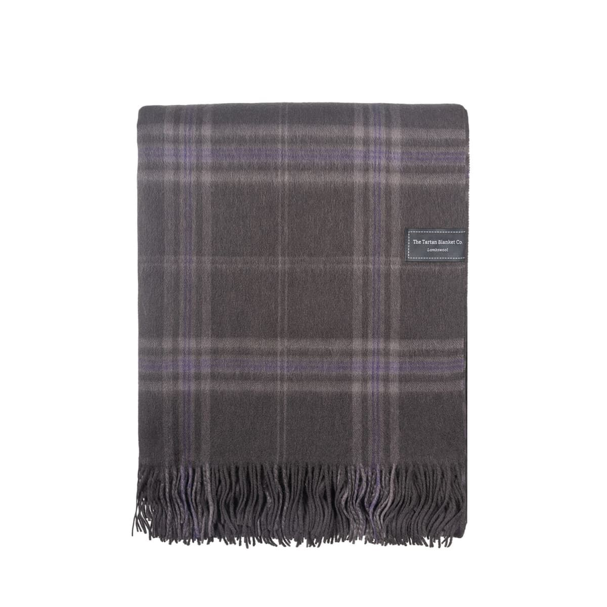 Lambswool Blanket In Persevere Flint Grey Tartan