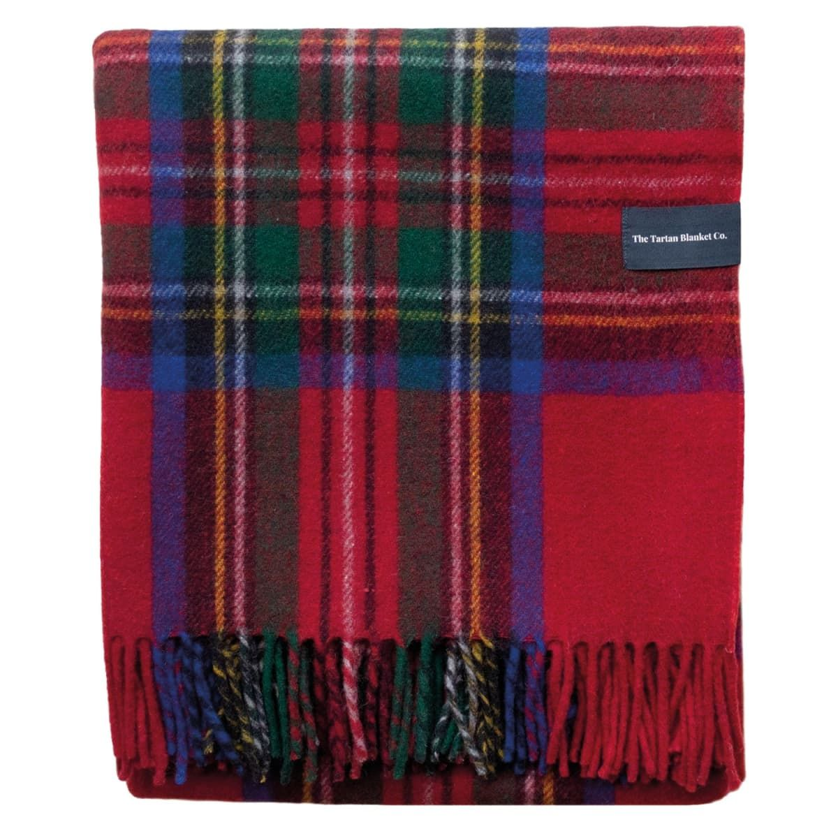 Recycled Wool Blanket In Stewart Royal Tartan