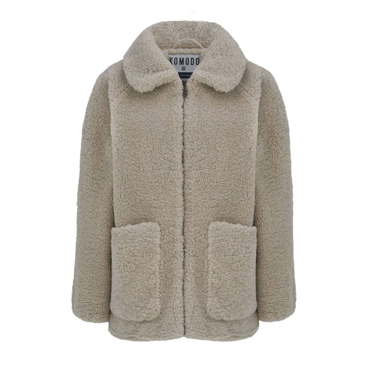 Women's Fuzzy Jacket In Warm Sand