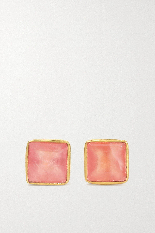 18-karat gold rhodochrosite earrings